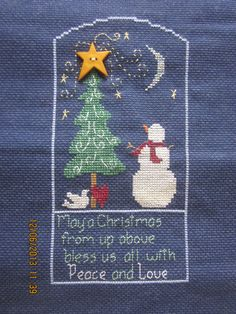 "Completed Cross Stitch: Waxing Moon Designs ""A Christmas Star"" by WhimseysByAnne, $30.00"