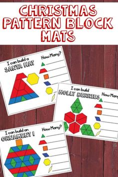 Christmas Pattern Blocks Mats and Task Cards Christmas Pattern Block Mats, Christmas Blocks, Christmas Math, Preschool Christmas, Christmas Activities, Classroom Activities, Christmas Themes, Xmas, Christmas Deco