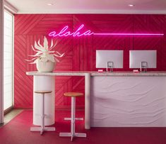 Hawaiian Hospitality Gets a Neon Makeover at the New Shoreline Hotel in Waikiki - Design Milk