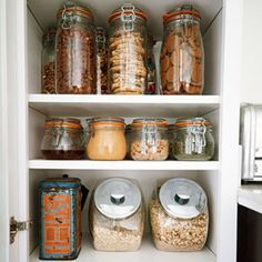 Get Organized in 10 Ways to Organize a Small Kitchen -- Without a Pantry! at Babble- ok I have a huge kitchen, but no pantry. Small Kitchen Organization, Pantry Organization, Kitchen Storage, Pantry Ideas, Pantry Storage, Organizing Tips, Mason Jars, Glass Jars, Glass Containers
