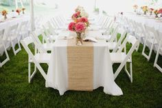 burlap runners on white with pops of color