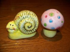 Mushroom and Snail  Salt & Pepper Shaker Set