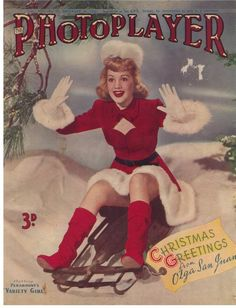 Vintage Christmas greetings from Olga San Juan (1947). #vintage #Christmas #magazines