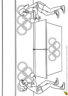 Dessin à colorier : joueuses de ping-pong Hugolescargot.com - Hugolescargot.com
