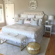 Mini Bedroom Makeover by Mrs. Coco Wyse with Rugs USA's Tuscan Double Carved Trellis Rug! Master Room, Master Bedrooms, Monogram Pillowcase, Ikea Lamp, Interior And Exterior, Interior Design, Trellis Rug, Rugs Usa, Home And Living