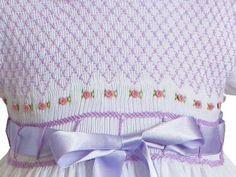 White Summer Spring lavender smocked dress