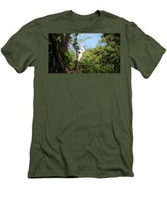 White Egret Men's T-Shirt (Athletic Fit) featuring the photograph Perched Egret by Cynthia Guinn