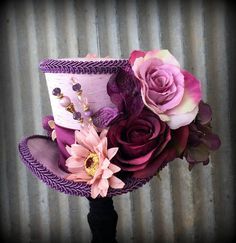 Your place to buy and sell all things handmade Dusty Purple, Purple Fabric, Kentucky Derby Hats, Lace Overlay, Purple Flowers, Fall Wedding, Tea Party, Headbands, Top Hats