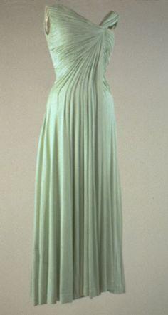 Oleg Cassini's celadon silk jersey evening dress worn by Jackie Kennedy
