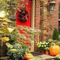 A fall wreath and lots of natural elements!