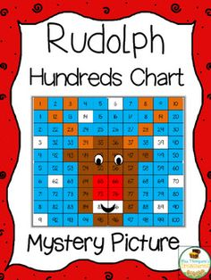 Free Rudolph Math Mystery Picture  Students will love creating this cute Rudolph picture by using the key to color in squares on the hundreds chart! This activity comes in 4 versions so you can easily differentiate in your classroom!  Get the free download HERE!  100 chart mystery pictures christmas hundreds chart K-2 math Mrs. Thompson's Treasures mystery pictures Rudolph