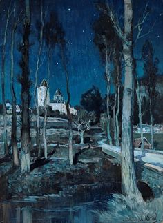 """lilithsplace: """"'Benedictine Abbey of Saint-Médard in Soissons, in the Moonlight' Alexandre Nozal (1852–1929) """""""