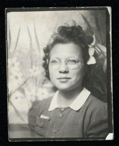 vintage photo photobooth photo booth teenage girl w Glasses via Etsy