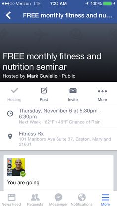Reminder next Thursday we will have our free nutrition and fitness seminar. We will also discuss ID Life supplements.