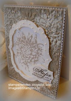 SU Blooming with Kindness, Labels Collections Framelit, Vintage Wallpaper and Perfect Polka Dots E F's, white embossing (June Fall Cards, Winter Cards, Christmas Cards, Thing 1, Embossed Cards, Scrapbook Cards, Scrapbooking, Sympathy Cards, Paper Cards