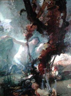 """The Mermaid (La sirène)"" by Albert Pierre René Maignan, oil on panel"
