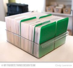 stamp storage - could to the same thing with embossing folders and thin die sets