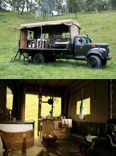 Fire truck turned into a guest house at Inshriach / Inverness-shire, Scotland