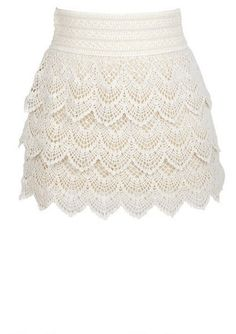 Tiered Crochet Skirt - {inspiration} just make 3 strips of edging with this pattern, then attach them to nude colored fabric in tiers