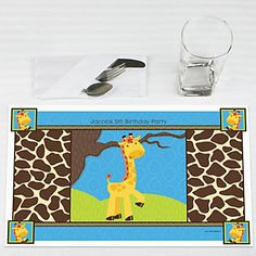 Giraffe Boy - Personalized Birthday Party Placemats   BigDotOfHappiness.com