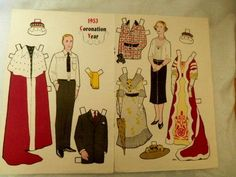 1953 - Jack and Jill paper doll pages from magazine; Coronation, Queen Elizabeth