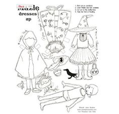 Halloween paper dolls (colorable)