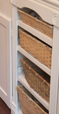 French Country Cottage Kitchen Baskets Instead Of Drawers Love Open