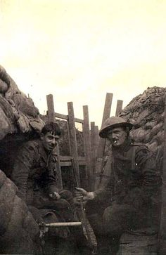 Lieutenants Hutchings and Kirk of 16th Welsh in the trenches at Morteldje, near Ypres, Belgium, 17th October 1916. Gallery | The Regimental Museum of The Royal Welsh (Brecon)