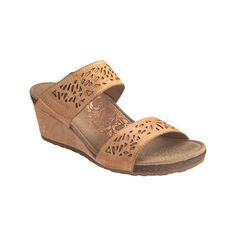 Women's Aetrex Danika Laser Cut Slide Wedge Sandal - Latte Leather... (410 BRL) ❤ liked on Polyvore featuring shoes, sandals, casual, heels, ivory, stretch sandals, ivory shoes, ivory sandals, aetrex shoes and adjustable strap sandals