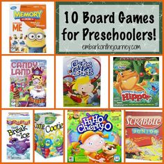 Board games fun for preschoolers, and they can also be used to sneak in a little early learning. Here are 10 of my favorite board games for preschoolers. Preschool Board Games, Art Activities For Kids, Games For Toddlers, Educational Activities, Kids Toys For Christmas, Christmas Party Games, Christmas Gifts, Tot School, School Fun