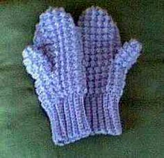Crochet Mittens  Variation: For cuff sc front loops only, and substitute tr with puff stitch