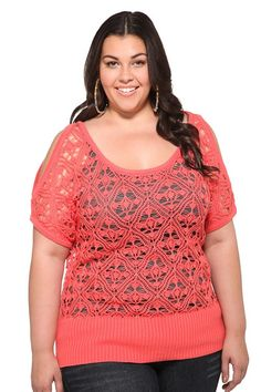 Coral Crochet Cold-Shoulder Sweater from Torrid for $44.50.  Open crochet stitches form the airy silhouette of this short sleeved sweater. Features flirty cold shoulders, a scoop neckline and a long ribbed bottom. This pretty pullover is perfect for spring layering