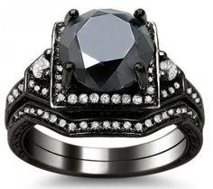 3.05ct Black Round Diamond Engagement Ring Bridal Set 14k Black Gold