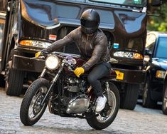 The 39-year-old Deadpool star looked cool in leather as he was spotted stepping out for a solo ride through the city on his motorcycle on Monday.