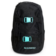 The Mohave Duo skate backpack from Element is an all black backpack with slight mint highlights to make this the back to school backpack you want. The skate backpack in all black, comes equipped with a larger main compartment including a lightly padded laptop sleeve, fleece lined top sunglass zipper pouch, small zipper pockets at each side, a front pocket for quick access, and a large black embroidered Element logo on the front and at the sides. This Element Mohave laptop backpack carries…