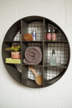The little brother of our Industrial Round Metal Shelf. Compact in size and stylish in looks our round metal wall shelf will fill that neglected wall space you just don't know what to do with. Great for bathrooms. Crate Shelves, Diy Wall Shelves, Metal Shelves, Wall Storage, Shelving, Wall Organization, Bathroom Storage, Industrial Style Furniture, Home Decor Furniture