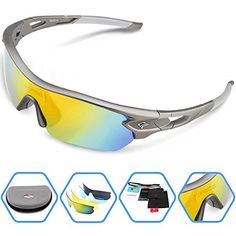 Torege Polarized Sports Sunglasses With 5 Interchangeable Lenes for Men Women Cycling Running Driving Fishing Golf Baseball Glasses TR002 (Grey) - http://www.exercisejoy.com/torege-polarized-sports-sunglasses-with-5-interchangeable-lenes-for-men-women-cycling-running-driving-fishing-golf-baseball-glasses-tr002-grey/cycling/