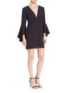 MILLY - Italian Cady Nicole Ruffle Sleeve V-Neck Dress