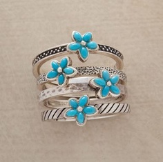 Turquoise Bouquet Rings Set