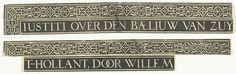 Anonymous   Ornamentale rand met titel, Anonymous, 1613   Ornamentale rand met titel. Tweede van drie stroken tekst. Oorspronkelijk stond deze titel boven de grote centrale voorstelling in de prent van het verhaal van de Rechtspraak van graaf Willem III in het jaar 1336.