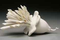 white ceramic clay sculpture by lindsay feuer                                                                                                                                                                                 More