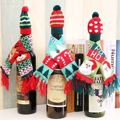 Xmas Wine Bottle Cover Christmas Cute Pattern Knitted Wine Bottle Sweater Cover For Dinner Table Decor
