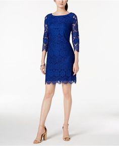 e8c88a6f11ea Jessica Howard 3 4-Sleeve Lace Shift Dress - Blue 18