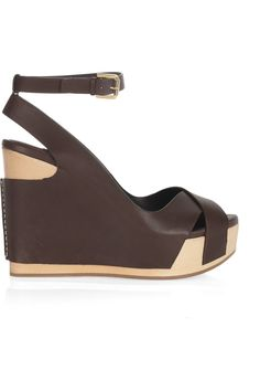ralph lauren leather platform wedge sandals
