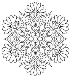 Best Simple Flowers Coloring Page - This is an example of a simple flower coloring page design that is easy to copy and modify. Flower Coloring Sheets, Printable Flower Coloring Pages, Easy Coloring Pages, Mandala Coloring Pages, Coloring Books, Mandala Art Lesson, Mandala Drawing, Mandala Book, Mandalas For Kids