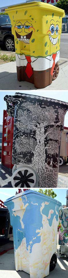O Projeto TRASHed: Art of Recycling é formado por artistas e designers que personalizam lixeiras para divulgar a importância da reciclagem.