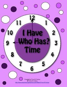Your students will have a good time learning to tell time with this 54 page printable packet! This set contains 5 sets of I Have…Who Has? Time cards. This includes telling time to the hour, the half-hour, and the quarter hour. There is also a tips page that gives you many helpful ideas for using these cards. These printable cards  require little time and preparation, and each card set comes with an answer key.($3.50)