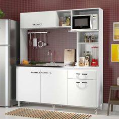 Cozinha Compacta 4 Portas, 1 Gaveta e Espaço para Forno/Micro-ondas Alfa Bianco - Stylo Nobre