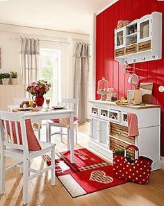 Love the red & white decor Kitchen Decor, Kitchen Design, Red Wall Kitchen, Pine Kitchen, Red And White Kitchen, Red Kitchen Accents, Cottage Kitchens, Red Walls, Red Accent Walls