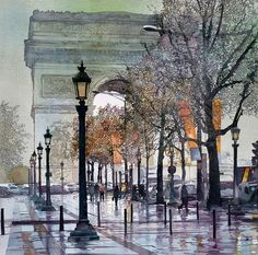 Watercolor - Champs Elysees, Paris by John Salminen - Art Aquarelle, Art Watercolor, Watercolor Landscape, Champs Elysees, Urban Landscape, Painting & Drawing, City Painting, Art Photography, Scenery